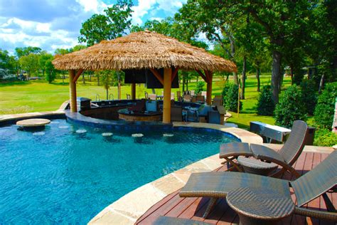 Livingroom End Tables outdoor bar area with palapa tropical pool dallas