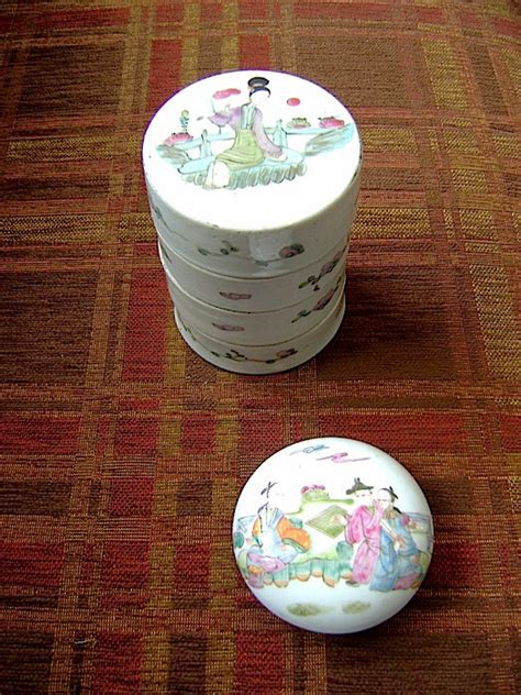 Box Set Stack Early porcelain salve and medicine stack box china early 20th century catawiki