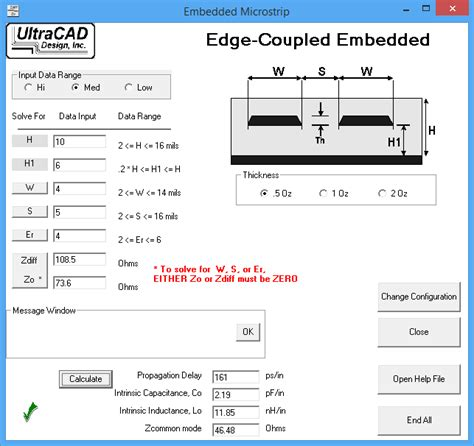 ultracad bypass capacitor impedance calculator ultracad design s differential impedance transmission line calculator