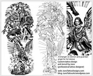 archangel vs demon guardian angel tattoo template arm