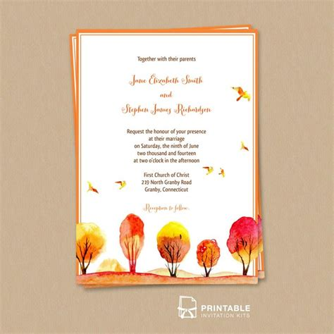 printable wedding invitations fall free pdf download watercolor autumn fall scene wedding