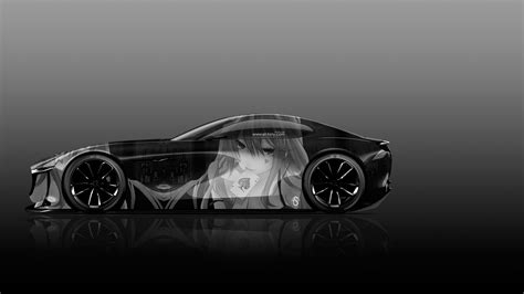 vision wallpaper black and white mazda rx vision concept side anime girl aerography car
