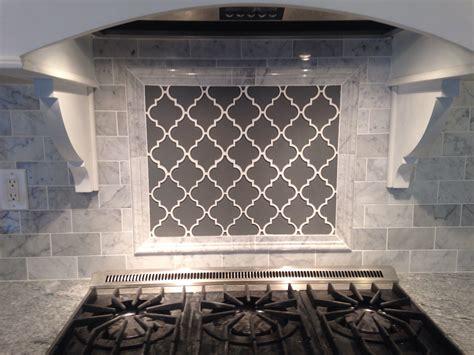 white subway tile with glass accent backsplash our house grey moroccan lattice backsplash accent behind range