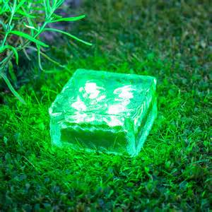 garden path solar lights large solar garden path light glass brick 4 green leds