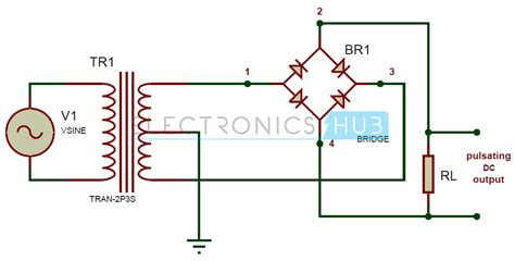 schematic of diode bridge wave bridge rectifier circuit working and applications