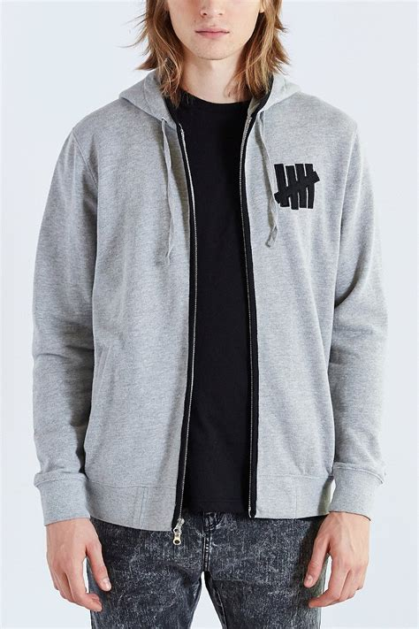 Jaket Zipper Hoodie Sweater Undefeated Logo undefeated vincent zip up hooded sweatshirt in gray for lyst