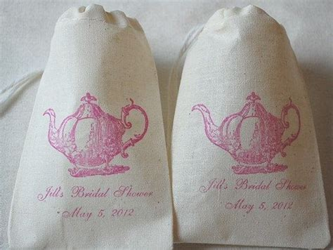 personalized bridal shower tea bag favors 50 personalized bridal shower tea favor bags vintage teapot organic cotton gift bags 3x5