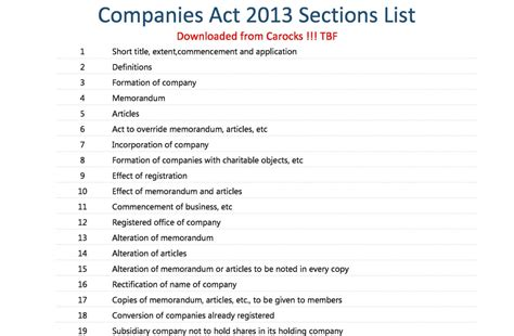 companies act  sections list excel  ca rocks