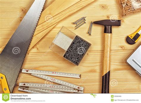 woodworking contractor assorted woodwork and carpentry or construction tools