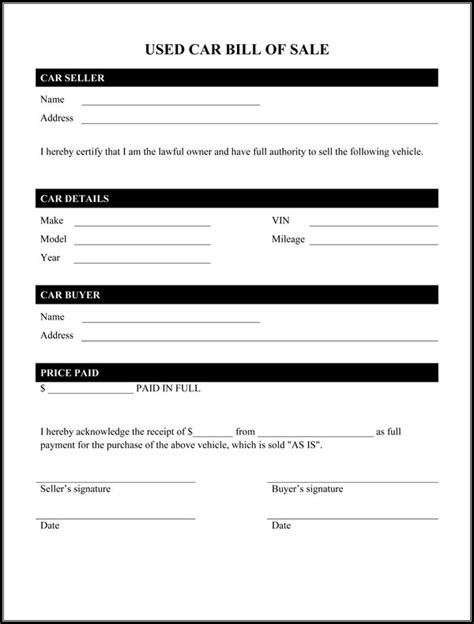 Bill Of Sale Form Template Printable Calendar Templates Car Bill Of Sale Form Template