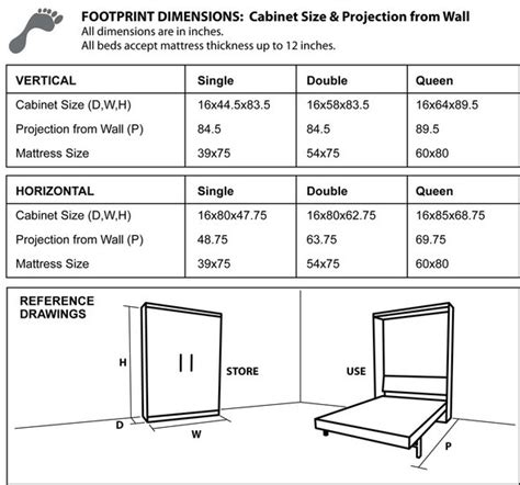 murphy bed dimensions cabinet dimensions