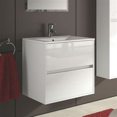 White Vanity Unit With Drawers Eco Line Noja 700 Wall Mounted 2 Drawer Vanity Unit