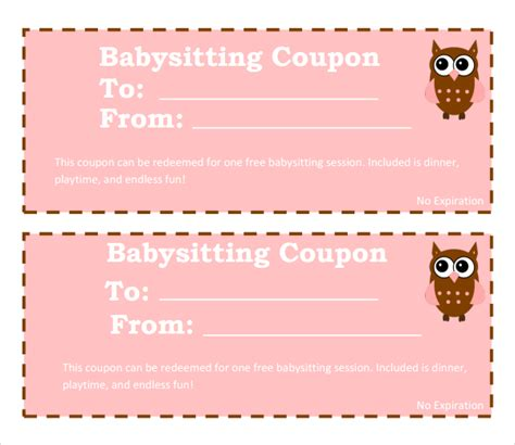 printable coupon templates free sle babysitting coupon template 5 documents