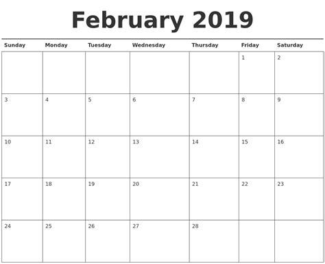Calendar 2019 February February 2019 Calendar Printable
