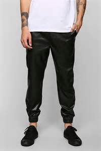 Bar Top Polyurethane Feathers Lightweight Faux Leather Jogger Pant Urban