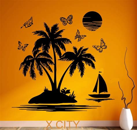 Palm Tree Wall Decor Tropical Scenery Palm Beach Island Black Wall Art Decal