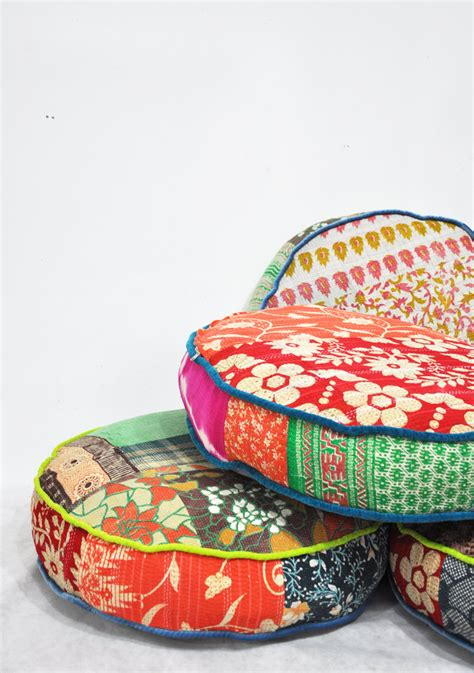 Bohemian Floor Cushions by Patchwork Floor Cushion Covers Indian Kantha Quilt Fabrics