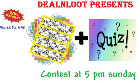 Online Quiz Contest To Win Money - winners declared dealnloot housie quiz contest win rs 540 worth prizes