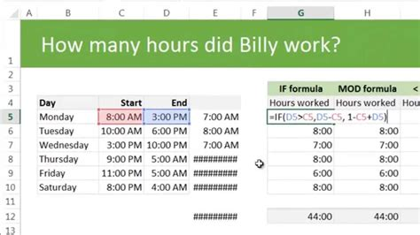 template to calculate hours worked calculating total working hours using excel exle