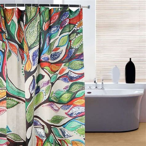 colorful fabric shower curtains bathroom waterproof fabric colorful tree print shower