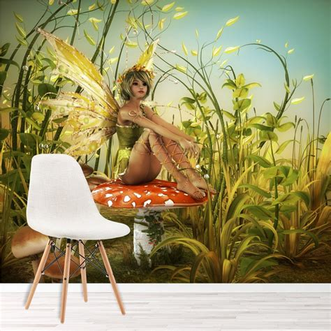 green fairy wall mural woodland fantasy photo wallpaper