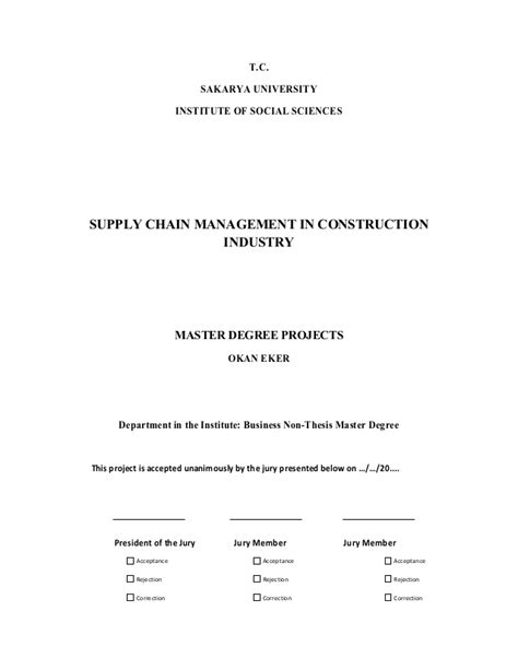 Mba Non Thesis Program by Okan Eker Mba Project