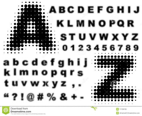 halftone pattern font halftone complete alphabet vector royalty free stock