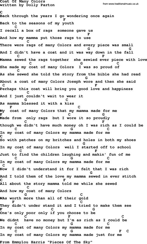 coat of many colors song emmylou harris song coat of many colors lyrics and chords