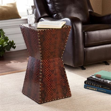leather accent table amazon com sei warrington faux leather accent table