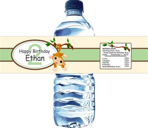 Monkey Water Bottle Labels