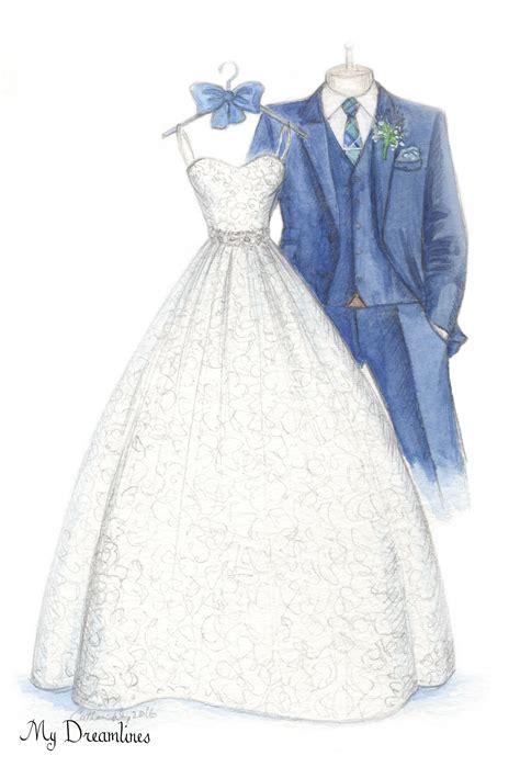 Wedding Sketch by 4 Year Anniversary Gift Dreamlines Wedding Dress Sketch