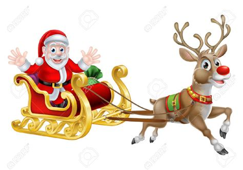 Santa And His Reindeer Clipart – 101 Clip Art Free Clip Art Santa And Reindeer