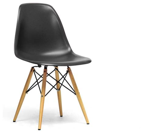 Mid Century Modern Plastic Chairs by Baxton Studio Azzo Black Plastic Mid Century Modern Shell