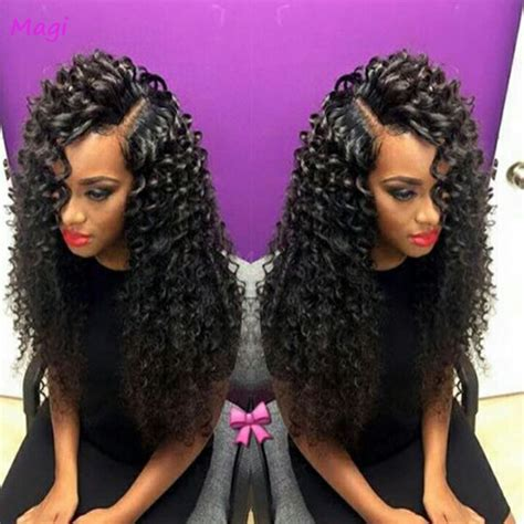 short hairstyle with front lacr closer 7a brazilian bouncy curl wig bleached knots lace front