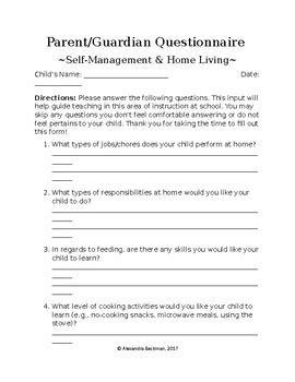 Parent Questionnaire Forms Bundle Special Education Community Based Instruction Parent Survey Template