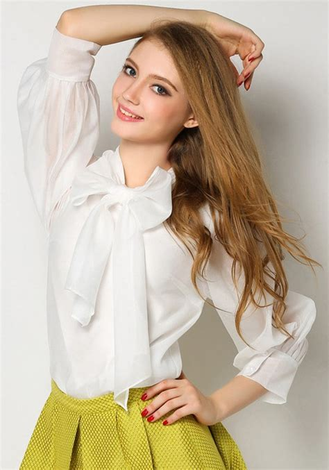 White High Neck Blouse With Bow by White Bow Neck Three Quarter Length Sleeve Casual