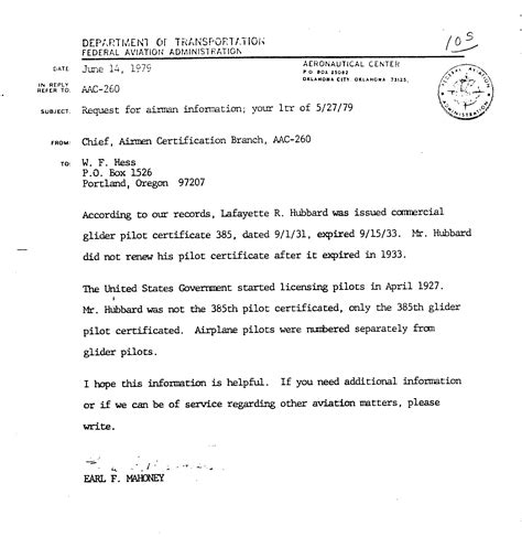 Release Letter Uws 105 letter from federal aviation agency faa re hubbard