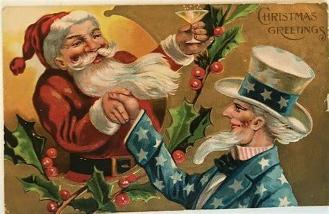uncle sam santa claus antique patriotic christmas santa postcard  christmas holiday