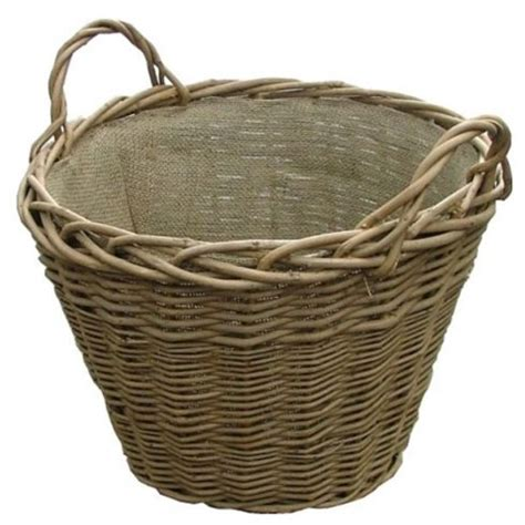 Lined Log Baskets For Fireplaces by Willow Wicker Log Basket Hessian Lining Wood
