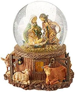 amazoncom church snow globes 7 5 quot fontanini musical lighted nativity stable snow globe