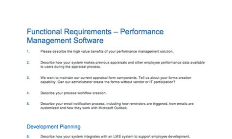 rfp requirements template sle rfp rfi template for a talent management system