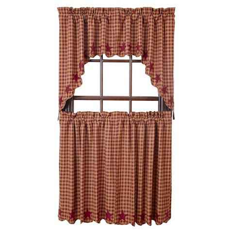 36 x 36 curtains burgundy star scalloped curtain tiers 36 quot w x 36 quot l vhc