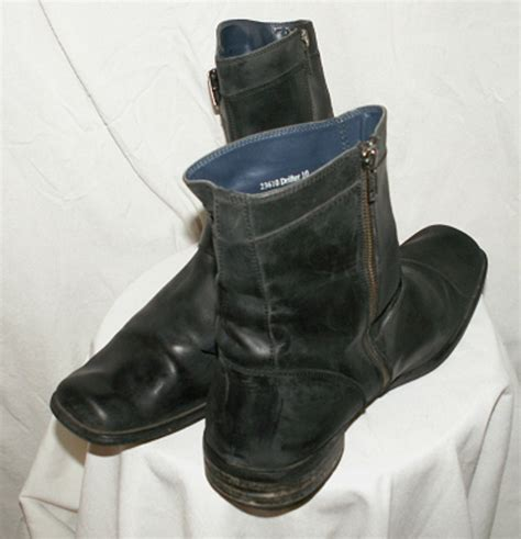 stray boots stray drifter dbl buckle biker rocker blk leather