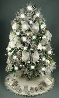 decorated mini tabletop christmas tree silver and white 20