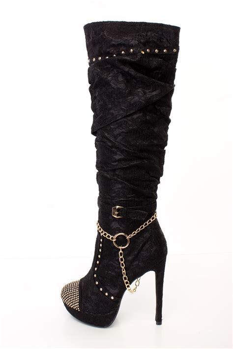 black slouchy studded high heel boots lace