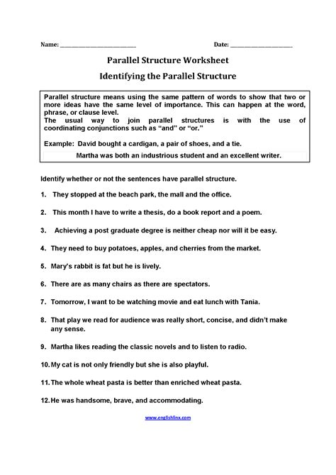 Parallel Structure Worksheet With Answers englishlinx parallel structure worksheets
