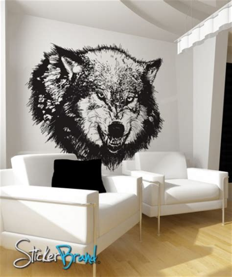 wolf wall stickers vinyl wall decal sticker angry wolf item789b