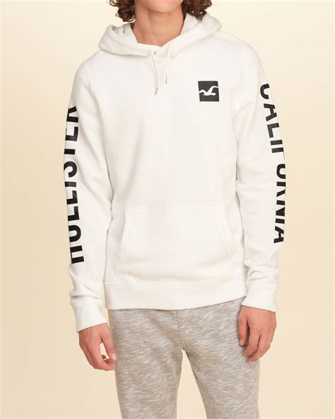 Hollister Print Logo Hoodie hollister printed logo graphic hoodie in white for lyst