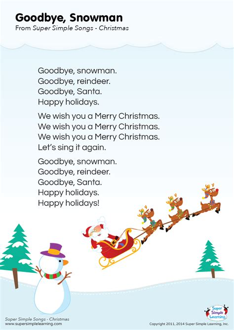 googlechristmas songs for the kindergarten lyrics poster for quot goodbye snowman quot song from simple learning kidssongs