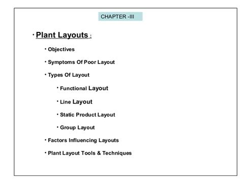 plant layout meaning and objectives lecture on production management plant layout